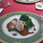 1410605 - 河内豚。脂美味しかった。付け合せのプティ・ヴェールも歯ごたえちょうどよく美味かった。