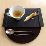ランファン・キ・レーヴ - アミューズ:舞茸のフラン。北海道の森から、秋を届けます