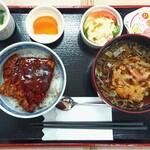 秋乃家 - 料理写真:ヘルシーセット ¥850 *豚丼(豚肉2枚)*かき揚げそば