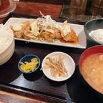 炉端かば - 鳥唐揚げ定食¥850。3年前から50円上がってました。そりゃそうか。