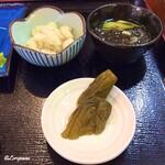 鈴徳 - 胡瓜古漬、海蘊酢、オカラのようなポテトサラダ