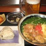 ぬちぐすい - 夜Aランチ(ソーキソバ・小鉢・おにぎり・サーターアンダギー)+生小オリオン 980円