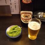 和泉屋 - お通しにビール