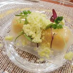 141144977 - ズワイ蟹と甘エビ、みかん・ライムのシート 11月なのに真夏日の中、とても清涼感のある嬉しい一皿