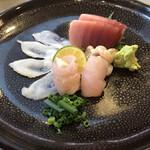 うにと牡蠣と日本酒と 鮨遊成 - お造り、ウマヅラハキの肝包みめちゃうま