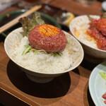 141146196 - 最高のユッケ、ご飯にユッケ?まさかこんなに美味しいなんて!トロですよ。