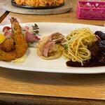 レストラン泉屋 - 料理写真:Cセットのビーフシチュー・カキフライ・ホタテベーコン巻き