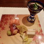 滝味の宿豊年万作 - 前菜 海老野菜テリーヌ、黒豚彩りテリーヌ、鴨の辛子黄味寿司