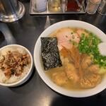 こうや麺房 - こうや麺房@本郷三丁目 雲呑麺、叉焼ライス(900円+150円) 2020年7月