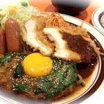 キッチンABC - 2番 オリエンタルハンバーグ、デミチキンカツ、ソーセージソテー(ライス&スープ付き)¥880