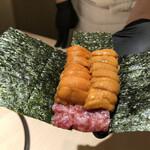 Ginzachikamitsu - ウニドック(フィレのユッケに赤、白ウニ)