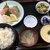 まる信 食堂 - 料理写真:刺身三点盛定食(生本まぐろ中とろ・島あじ・生ほたて)¥1500