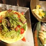 14124715 - そうめん南京のサラダ・長芋のわさび漬・セロリとオレンジ