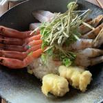 地元産天然お魚とアジアごはん アイワナドゥ 岩戸 - 11月月替わりメニュー、もさえびと甘えびの食べ比べ丼