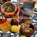 近江懐石 清元 - 柿の白和え・鯖寿司・玉子焼・丸十・しめじの明太子和え