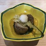 近江懐石 清元 - 油物:里芋芥子の実揚げ おろし