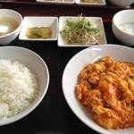 北京老飯店 - Aランチ800円 芝海老チリソース