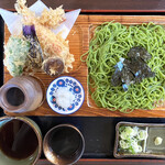 そば処くしろ庵 - 料理写真:天ざる(1600円)