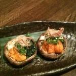 魚菜 由良 - 椎茸の二色焼き、雲丹、海苔