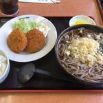 善五郎 - 料理写真:本日の定食 コロッケ&メンチカツ+たぬきそば ¥800-