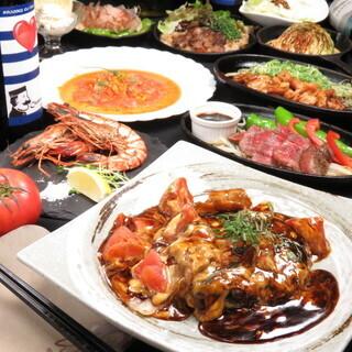 名物のトマトお好み焼きが楽しめる宴会コース3,980円から