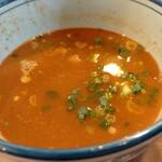 浜屋 - スープ割は申告制。快く入れてくれる。さらにネギもちょっと追加してくれる。