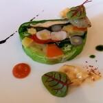 141445118 - 前菜 オマール海老と野菜のテリーヌ アンチョビと茄子のペースト