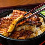 かくれうなぎ誕生の店 川八 - 料理写真:はらたいら先生命名のかくれうなぎ4600円うなぎが2段になっています。