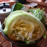 しゃぶしゃぶ 温野菜 - レタしゃぶ盛り819円也。レタスがこんなにしゃぶしゃぶに合うとは…!