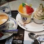 141501548 - ケーキと抹茶のソフトとコーヒー 1100円                       コーヒーお代わりは + 220円