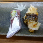 鮨処 八洲 - 料理写真:追加のツブ&アジ