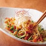 村さ来 - 蒸し鶏と野菜のサラダ(唐辛子ドレッシング)