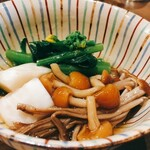 手打ちそば やっ古 - 料理写真:本日のおひたし:オータムポエム、カブ、キノコ