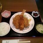 お食事処 大原 - 海老フライ1・アジフライ3定食
