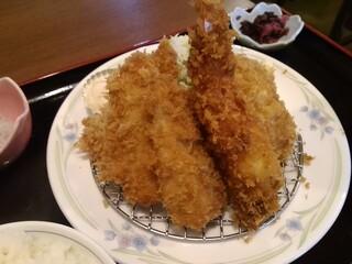 お食事処 大原 - 海老フライ1アジフライ3定食