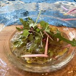 クリマ ディ トスカーナ - 小川原湖 白魚&シジミ ズッパディペッシェ 秋サラダ 青森県の小川原湖をイメージされた盛り付けなのかな(・・?  私にはこの一皿は、シェフが故郷を思いながら描いた絵画のように写ります♪