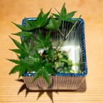 日本料理 楽心 - 夏のぬた和え 胡瓜、 あさつき、 蒟蒻、 枇杷、 剣先烏賊、 酢味噌で和えて、 和辛子