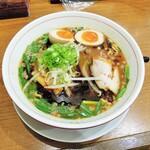 池田麺彩 - 黒味噌ラーメン + 味玉