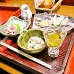 高城庵 - 高城庵セット1の膳(芋こんにゃくさしみ、鶏さしみなど)