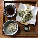 瀬戸沢 - そばがき と 山菜てんぷら