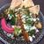 サラーム - グリル根野菜はスパイスがからんで香ばしく焼き上がり、ヨーグルトソース、ビーツと黒ごまのフムスと。ピタに挟んでいただきます。¥1600
