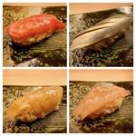 鮨 生粋 - 大トロ・コハダ 鰆の漬け・甘海老の昆布締め