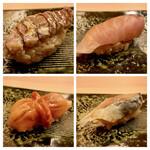 鮨 生粋 - シャコの漬け・ブリ 赤貝・しめ鯖