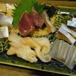 14179997 - いかにも寿司屋仕事な刺身の盛り合わせ。