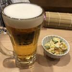 恵美寿屋 - 生ビール、ポテサラ