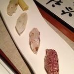 14180780 - ②炙り寿司:マグロ・カンパチ・ヤリイカ・コチ