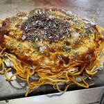 141800183 - お好み焼き定食のお好み焼き。                       辛麺でお願いしました
