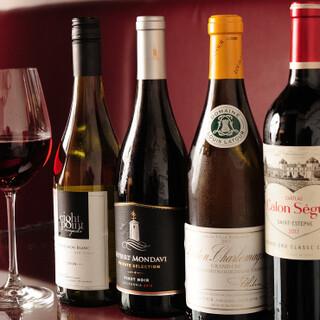 ワインはニューワールドも含め30種類。メニュー未掲載の銘柄も