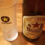 魚哲 - 瓶ビール サッポロラガー(630円)