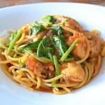 パスタ フレスカ ダンメン - かきのベニエのガーリックトマトパスタ
